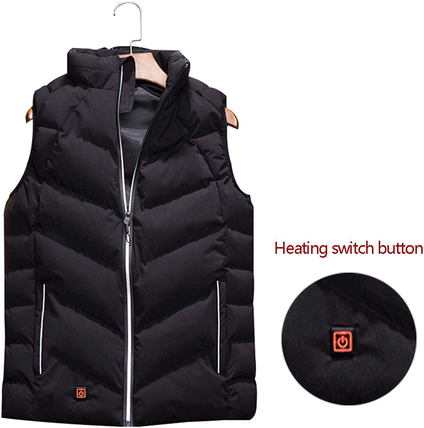 Men Electric Heated Down Vest Fall Winter USB Charging Sleeveless Warmer Jacket Adult Washable Adjustable 3 Temperature Clothing for Warm Gift Outdoor Hike Hunt Fishing Skiing