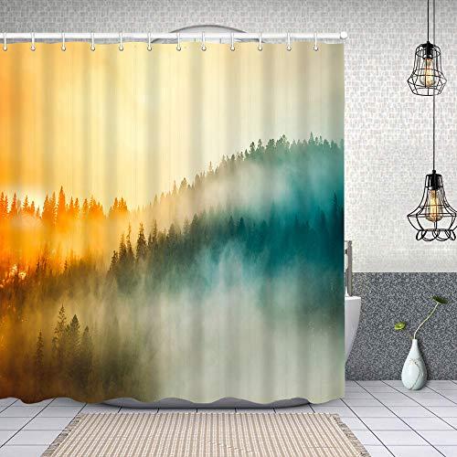 Yoliveya Cortina Ducha Impermeable,Amanecer de Color Niebla boscosa Pendiente de la montaña,Impresión de Cortinas baño con 12 Ganchos 180cmx180cm