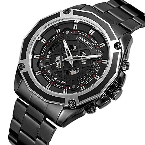 Excellent Relojes mecánicos automáticos de los Hombres Reloj de Reloj de Pulsera analógico con Correa de Acero Inoxidable Deportes Esqueleto,A05