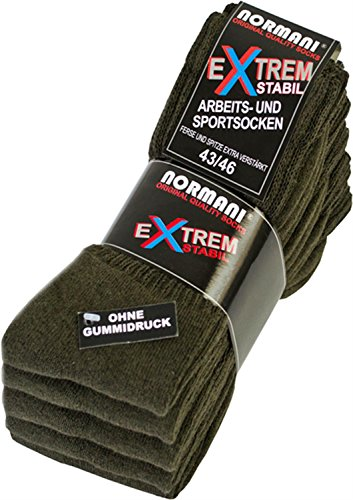 normani 5 Paar Extra Verstärkte Arbeitssocken/Sportsocken Farbe Oliv Größe 43-46
