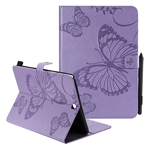 UUcovers Case for Samsung Galaxy Tab A 9.7 inch 2015 (SM-T550/SM-P550/T55C/P55C) with Pencil Card Holder [Auto Sleep/Wake] Embossed Vintage Smart PU Leather Cover Folio Stand Wallet, Purple Butterfly