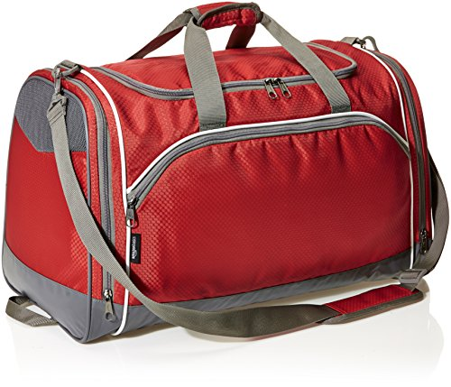 AmazonBasics Small Lightweight Durable Sports Duffel Gym and Overnight Travel Bag - Red