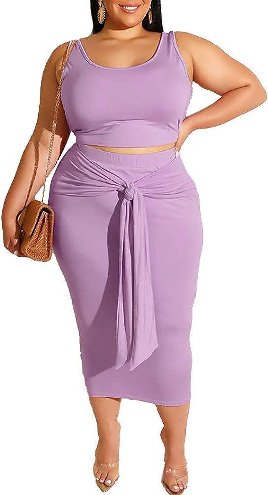 Women Plus Size Two Piece Midi Dress Outfits - Sexy Sleeveless Tie Dye Print Tank Crop Top + Bodycon Tie Pencil Skirts Set