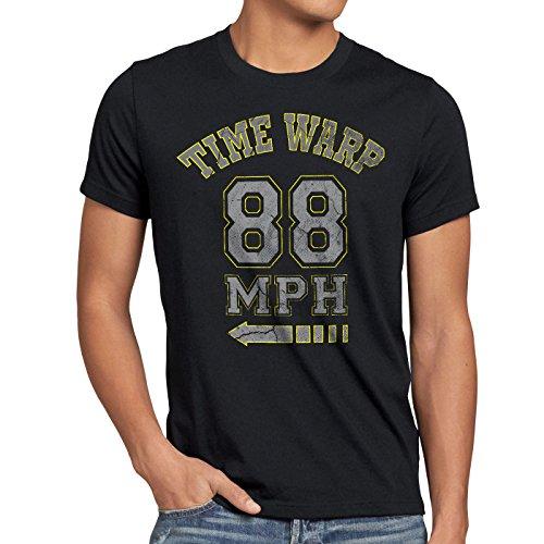 style3 Time Warp 88mph Herren T-Shirt Zukunft McFly Marty Gamer College, Größe:XL;Farbe:Schwarz