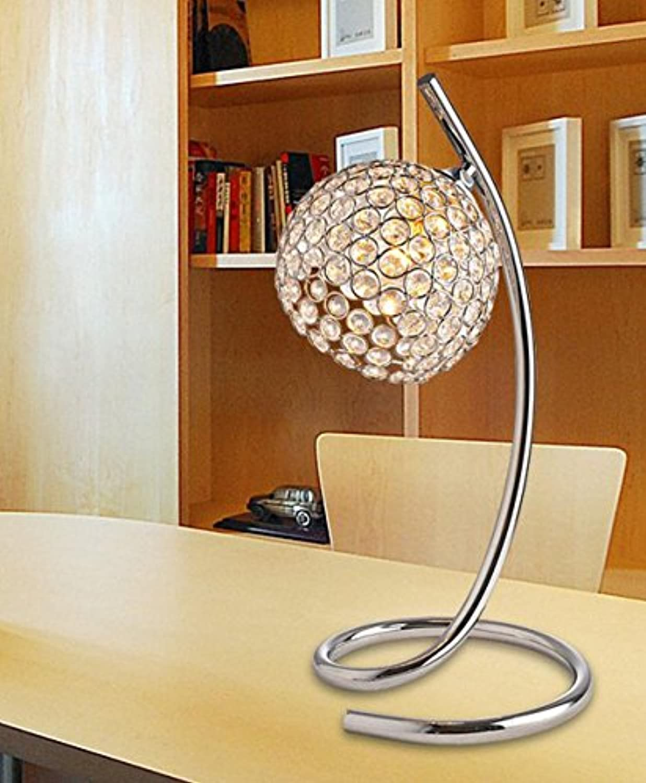 GRFH Moderne Kristall Lampe Metall Edelstahl Runde Basis Nachttisch Lampe Ring Geometrische Kristall Lampe Halter Bett Kristall Tischlampe