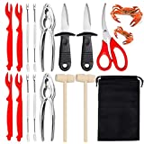 Skycool 15pcs Seafood Tools Set Including 2 Crab Lobster Crackers 4 Lobster Shellers 4 Stainless Steel Crab Forks 2 Wooden Hammers 2 Picks Knife 1 Seafood Scissors and Portable Bag