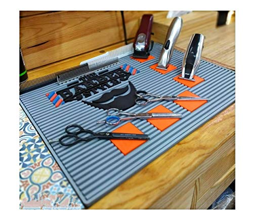 Alfombrilla con seis imanes fuertes para barberías peluquerías organizar el material y sujeta maquinas tijeras navajas 450 x 330 x 8 mm