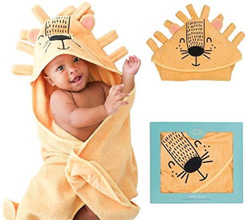 Posh Peanut Baby Hooded Towel – Cotton Infant Baby Boy Towel for The House, Beach, Pool – Super Soft Newborn Drying Bath Towel – Great Idea (Lion)