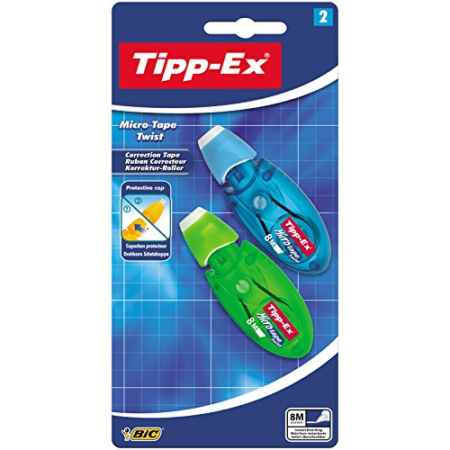 Tipp-Ex Korrekturroller Micro Tape Twist mit drehbarer Schutzkappe 2 Korrekturmäusen pro 1 Blister, Blau/Grün oder Rot/Lila, 8 m x 5 mm