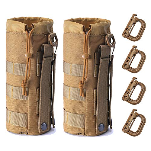 Upgraded Tactical Drawstring Molle Water Bottle Holder Tactical Pouches (TAN-2-4)