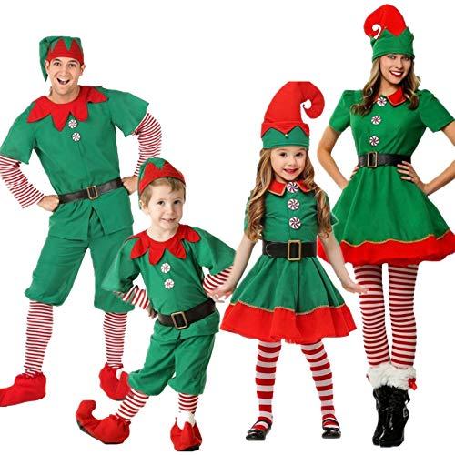 XFDYJ Disfraces para niños Elfo Navideño para Padres E Hijos con Capucha Adecuada para La Fiesta De Maquillaje,130CM