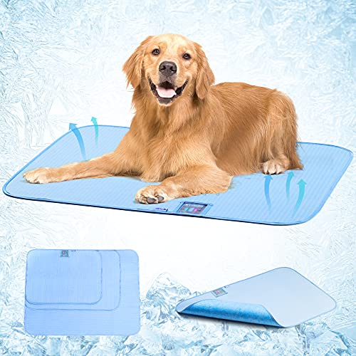 Pet Cooling Mat for Dogs Cats - Avoalre Summer Ice Silk Sleeping Dog Cooling Mat with Humidity Indicator Card, Non-Slip Bottom & Foldable and Washable & Reusable Dog Cooling Pee Pad for Indoor Outdoor