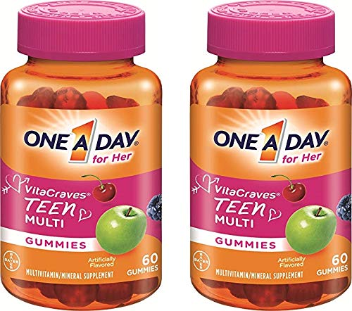 One A Day Vitacraves Teen for Her, 60 Count - Buy Packs and Save (Pack of 2)