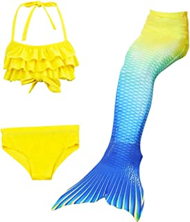Three-piece Mermaid Swimsuit Girls Bikini Gradient Yellow Split Swimsuit for Swimming with Mermaid Swimwear Princess 5-6Y