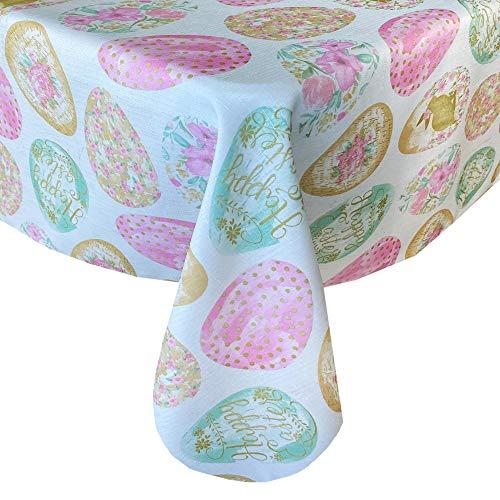 """Newbridge Easter Egg Delight Easter and Spring Fabric Tablecloth - Happy Easter Bunny Rabbit Decorated Egg Print Easy Care, Stain Resistant Fabric Tablecloth, 60"""" x 84"""" Oval"""