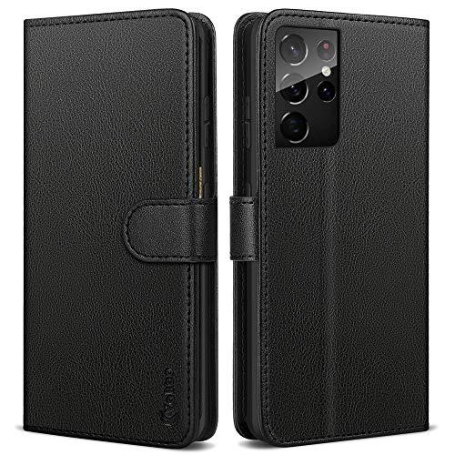 Vakoo Handyhülle für Samsung Galaxy S21 Ultra Hülle, Premium Leder Tasche Flipcase kompatibel mit S21 Ultra Hülle, Schwarz - 6.8 Zoll