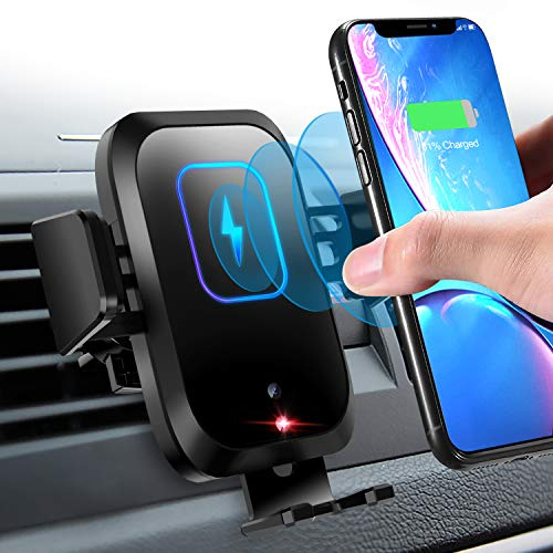 Wireless Car Charger Mount 10W/7.5W Qi Fast Charging Sensor Auto-Clamping Air Vent Car Phone Holder Compatible iPhone 11/11 Pro/11 Pro Max/XS/XR/X/8/8+, Samsung S10/S10+/S9/S9+/S8, Note 10/10+ & More