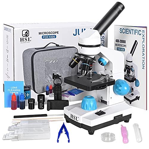 HSL 40X-2000X Microscope for Kids, Monocular Microscope Students Set +Handbag+Phone Holder+ Beginner Biological LAD Kit for Science Educational Boys Girls Toys LED