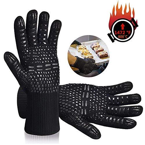 Karrong Grillhandschuhe Hitzebeständig, BBQ Handschuhe Ofenhandschuhe Hitzebeständig bis zu 500℃ / 932℉ mit EN407 Zertifizierte für BBQ, Grill, Kochen, Backen,...