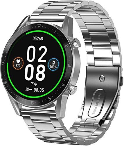 Reloj inteligente para hombre, con pantalla táctil completa Ip68, resistente al agua, reloj inteligente para Android, iOS, deportes, fitness, fácil de usar, negro, mejor regalo, negro y plateado