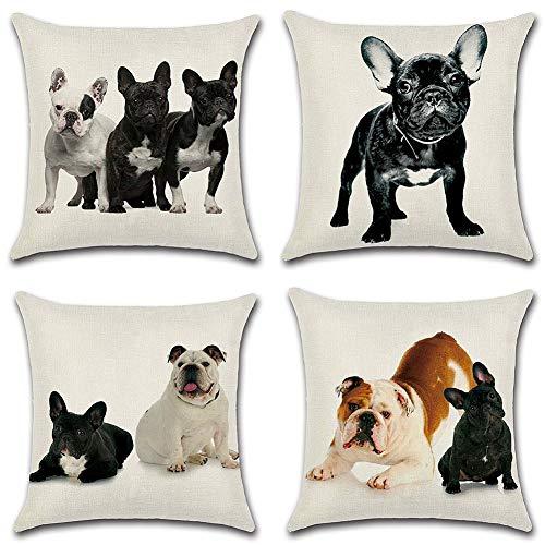 Aipark 4 Decorativas Fundas de cojín cuadradas de Lino y algodón con Bonito diseño de Bulldog francés, 45 x 45cm