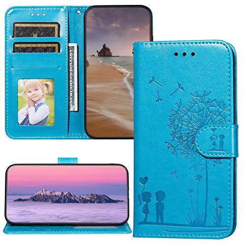 Capa carteira XYX para Motorola Z4 Play, Moto Z4 Play casais padrão dente-de-leão capa para Motorola Moto Z4 Play - Azul