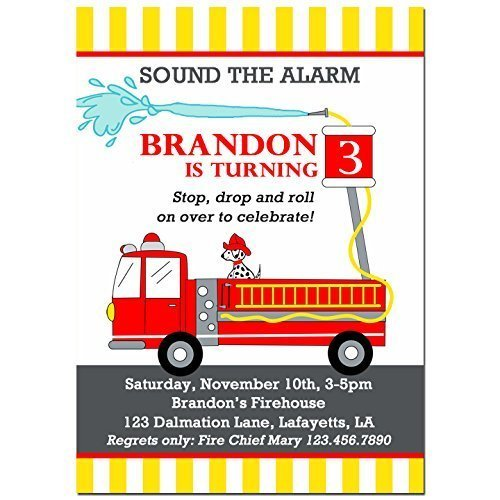 Amazon.com: Fire Truck Invitations With ANY Wording Printed Or Printable -  Emergency Vehicles, Fire Truck Birthday Invitation: Handmade