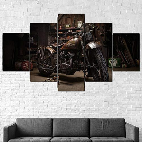 ZHRMGHG Moderni Murale Fotografia Quadro 150 X 80 Cm Stampa su Tela Canvas Immagini Grafica Decorazione da Parete 5 Pezzi - Vecchia Bici Arrugginita di Harley Davidson 150X80Cm(con Cornice)