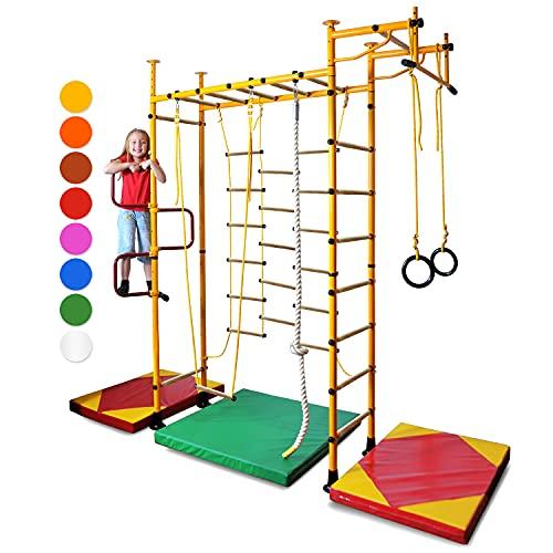 NiroSport FitTop M3 Klettergerüst Indoor für Kinder in Gelb/Holzsprossen/TÜV geprüfte Indoor Sprossenwand für Kinderzimmer/leicht montierbare Kletterwand/Turnwand für max. Belastung bis 130 kg