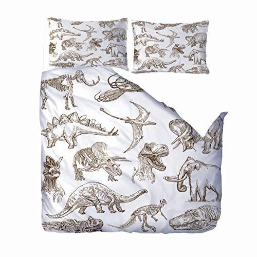 MEKVF Printing Bedding Set Cool Boy Teen Men Microfiber Cartoon dinosaur Zipper Duvet Cover with Pillowcase printing, 3 Pcs 220x260 cm Fashion Creative 3D Duvet Cover super king size