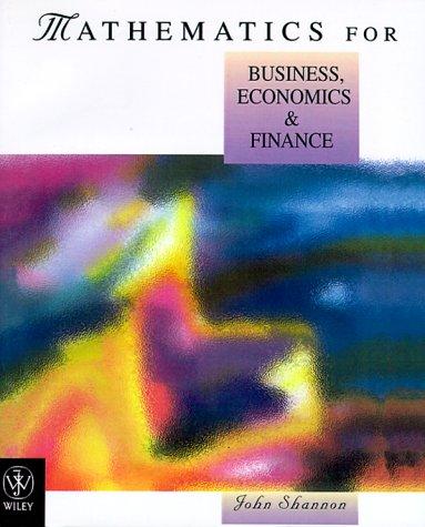 Mathematics for Business, Economics and Finance
