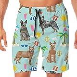 Ye Hua Tela Australiana para Perros de Ganado Azul y Rojo Tacones y Tela de Playa - Light Blue_542 Men Swim Trunks Surf Beach Holiday Party Swim Shorts Pantalones de Playa XXL