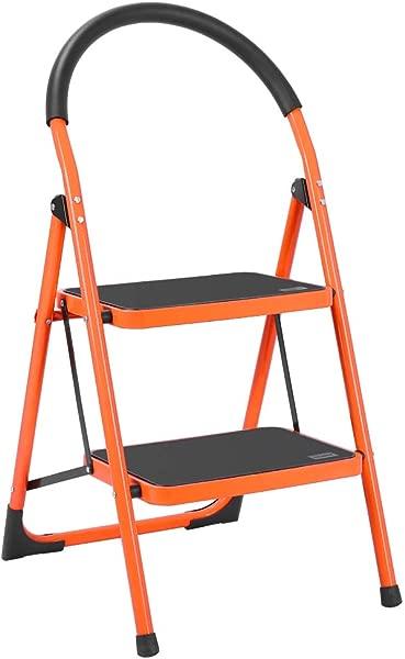 Luisladders 2 Step Ladder Anti Slip Folding Stool Sturdy Steel Ladder 330lbs EN131 Lightweight With Handgrip Anti Slip And Wide Pedal