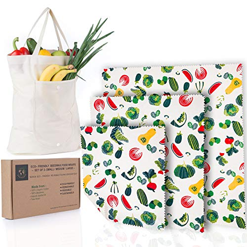 Eco Friendly Reusable Beeswax Food Wraps - Biodegradable Food Storage Wraps, Pack of 3 Small, Medium, Large, Sustainable Zero Waste Plastic Free Alternative Bonus Folding Grocery Bag