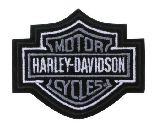 Harley-Davidson Silver Bar & Shield Patch XS 3'' x 2 1/2'' EMB302541