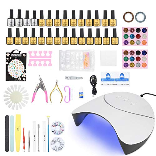 36W LED UV Gel Nagel Lamp Set, 24 Kleuren Gel Nagellak Kit Professionele UV Licht Starter Kit met Volledige Manicure gereedschap DIY Nail Art Decoraties Steentjes Set(#)