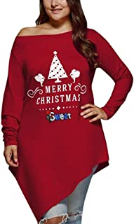 Pgojuni Fashion Women Casual Plus Size Merry Christmas Skew Neck Asymmetrical T-Shirt