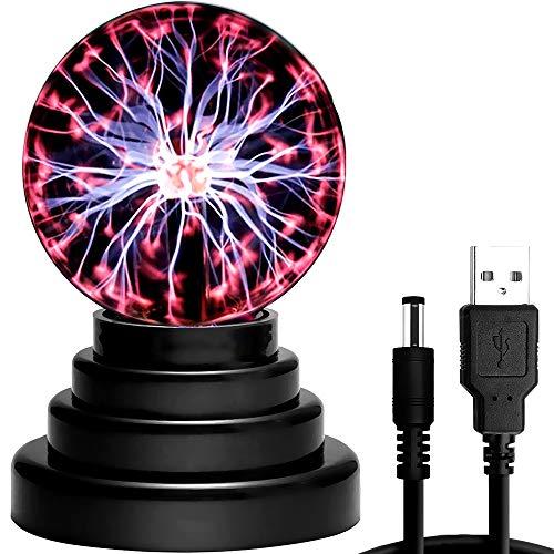 CestMall Luz de bola de plasma, lámpara de plasma sensible al tacto, USB/batería con luz mágica de cristal Bola electrostática Lámpara de iones Bola de plasma mágica de 4 pulgadas