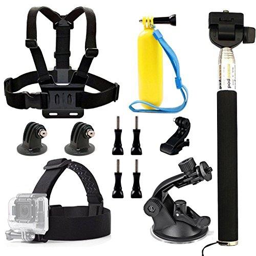 Dovob 7-in-1azione sport fotocamera accessori Bundle kit (Includere Head strap camera Mount, imbragatura, galleggiante impugnatura Pole, selfie stick monopiede, supporto a ventosa) per GoPro/Dbpower/Apeman/Camkong/Panasonic/Lightdow Wimius