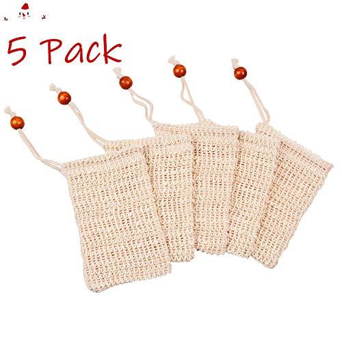 5er Seifenbeutel Bio Sisal Natur Seifensack Seifennetz Seifensäckchen Peeling Massage Aufschäumen/Trocknen der Seife Anti-Rutsche Seifenreste Seifentasche