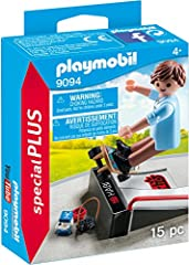 Glide around the park with the skateboard with ramp Play with this set on its own or combine with any other PLAYMOBIL set Set includes skateboarder, ramp, camera, and other accessories Recommended for ages four years and up Figures can bend, sit, sta...