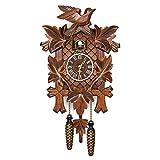 Zoloyo Horloge coucou en bois style rétro nordique avec motif d'oiseau de la Forêt Noire allemande
