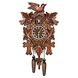 Dheera Cuckoo Clock German Black Forest Cuckoo Clock Retro Nordic Style Wooden Cuckoo Wall Clock Wooden Wall Clock for Dining Room Home Bedroom 18 Inch