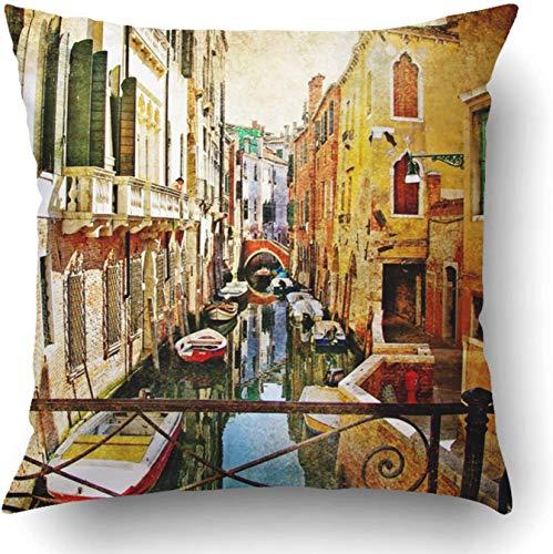 Fodere per cuscini Olio Incredibile Venezia Opere d'arte in stile dipinto Pittura famosa Fiore vintage Vecchio poliestere 18 x 18 pollici Cerniera nascosta quadrata Federa decorativa