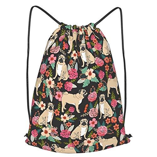Olverz Mochila con cordón para cachorros, flores, impermeable, bolsa de gimnasio grande, plegable, bolsa de cincha, bolsa para senderismo, camping, playa, S