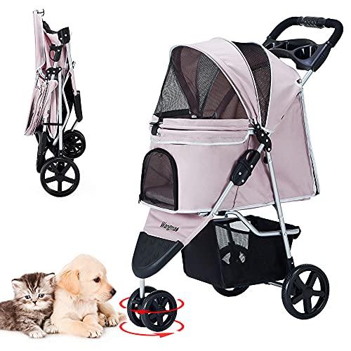 ペットカート 折りたたみ 3輪 犬用ベビーカー 猫犬兼用 多頭用 前輪360°回転 後輪ブレーキ付 組み立て簡単 介護用 ペットバギー 耐荷重15kg (ピンク)