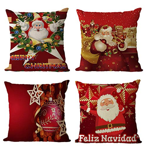 GenericBrands Cushion Covers Christmas Cushion Covers Pillow covers Invisible Zipper Cushion Protectors Pillowcase for Car indoor Home Decorative 45 x 45 cm Set of 4