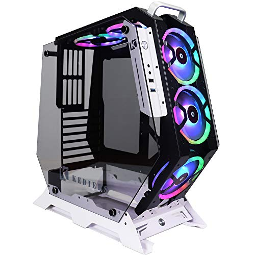 KEDIERS ATX Open Frame Panoramic Viewing Gaming Computer Case Pc Case Mid Tower Case with 2 Tempered Glass and 5 RGB Fans