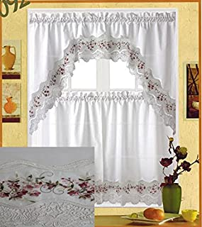 Fancy Collection 3pc White with Embroidery Floral Kitchen/cafe Curtain Tier and Valance Set 001092 (Burgundy)