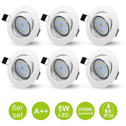 6er LED Einbaustrahler Deckenspot GU10 Weiß Schwenkbare Einbauleuchten Einbau Set 230V inkl. 5W Warmweiß Lampen + GU10 Fassung